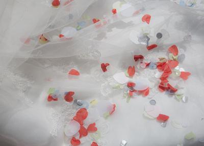 Confetti on a wedding dress